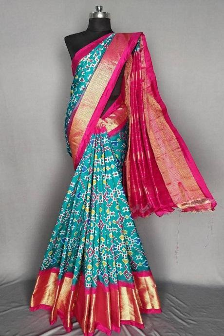 Trendy Light Firozi Color Soft Silk Designer Bandhej Sarees IS2463