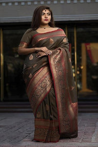 Coffee And Black Chex Patta Colored Soft Silk Hand Weaving Sari IS2612