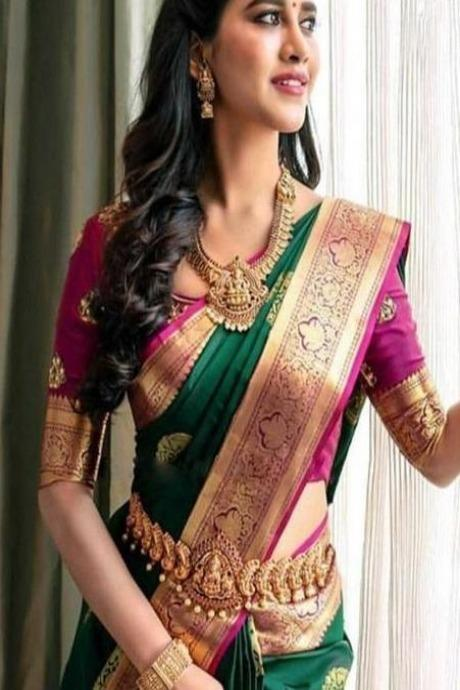 Dashing Green Color Soft Silk Shining Designer Saree IS537