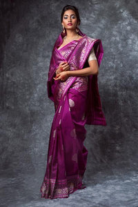 Surpassing Purple Rani Color Soft Silk Jacquard Saree IS1702