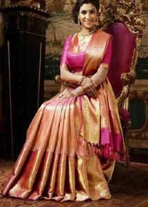 Yummy Light Pink Colored Soft Silk Jacquard Saree IS434