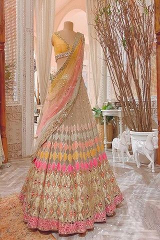 White 3 Color Embroidery Work Designer Lehenga Choli IS4748