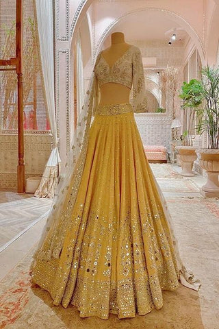 Yellow Color Heavy Work Designer Lehenga Choli IS4746