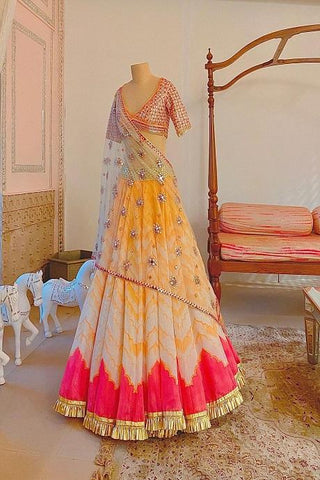Multi Layer Multi Color Style Designer Lehenga Choli IS4739