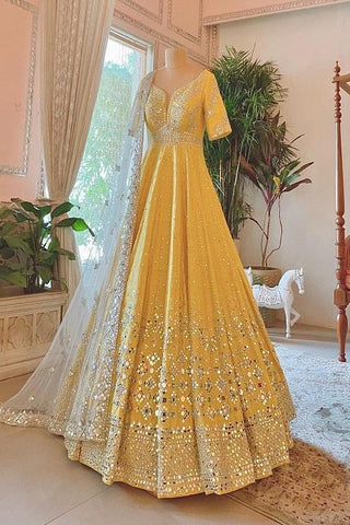 Alluring Royal Yellow Colored Soft Velvet Lehenga Choli IS4727