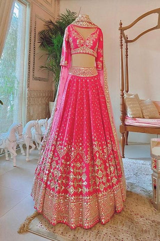Alluring Pink Colored Soft Silk Lehenga Choli IS4722