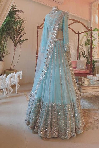 Alluring Light Sky Blue Colored Net Lehenga Choli IS4723