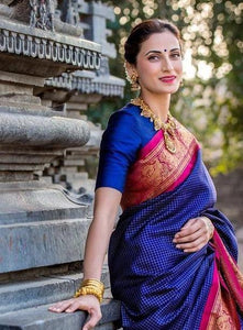 Pure Soft Hand Weaving Silk Navy Blue Colour Saree IS70