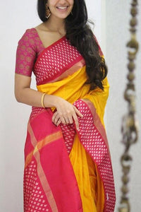 LIght Yellow Red Colour Pure Soft Silk Cotton Saree IS236