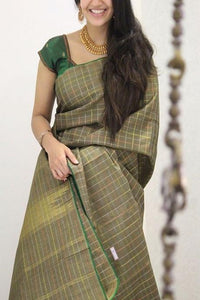 Nice Green Colored Soft Cotton Silk Saree IS497