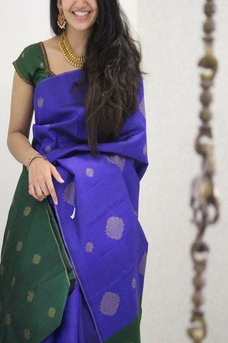 Classic Blue And Green Color Festival Wear Silk Saree IS2244