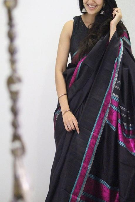 Black Color Soft Khadi Cotton Occasion Wear Saree IS2247