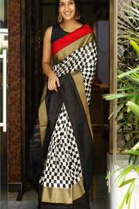 Engrossing Banarasi Pure Silk  White /Black Colour Saree IS153