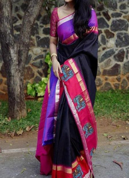 Traditional Dark Black Colour Banarasi Pure Soft Silk Jacquard Saree IS292