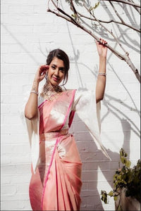 Flattering Creamy Pink Color Designer Soft Silk Boutique Saree IS2156