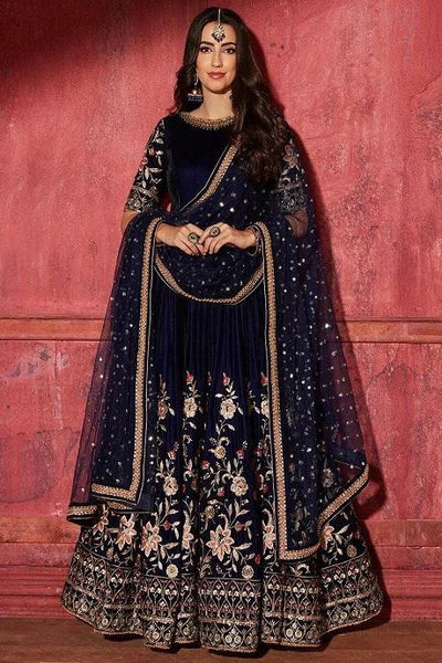 Adorning Navy Blue Color Heavy Work Gown IS3559