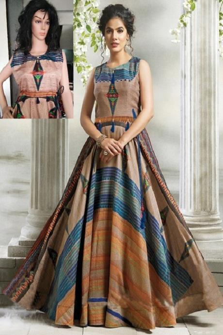 Attractive  Multi color Anarkali Flared Gown Type Kurti IS3444