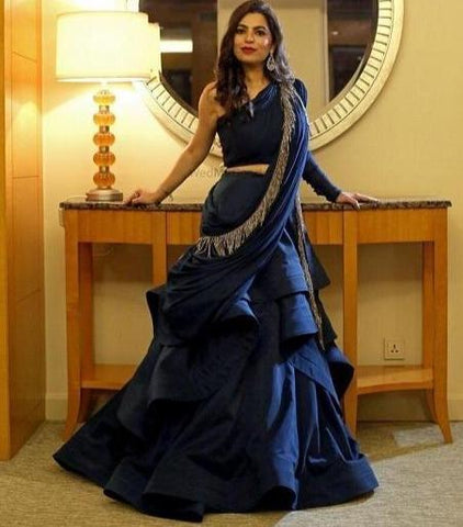 Enchanting Blue Colored Soft Velvet Lehenga Choli IS601