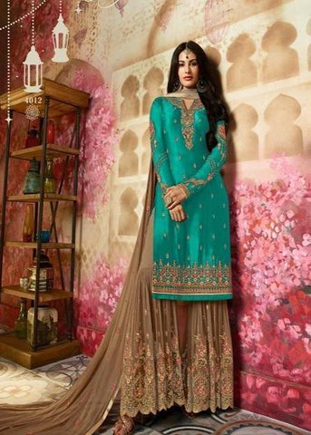 Beautiful Shining Firozi Color Heavy Suits N Sarara IS4430