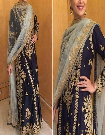 Navy Blue Color Designer Plazo And Top Sets IS4675