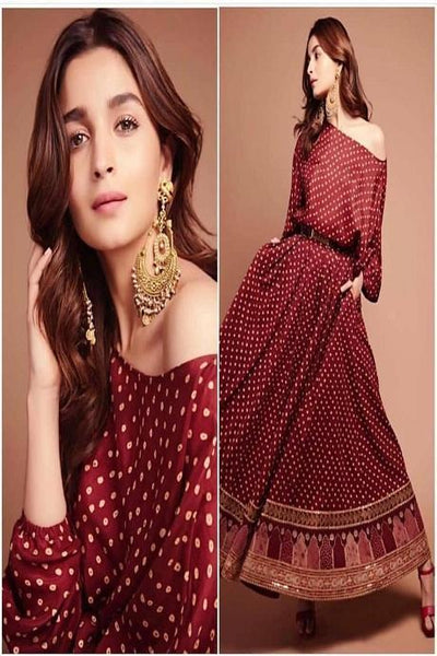 Antic Maroon Colored Occasional Wear Digital Printed Three Piece IS2789