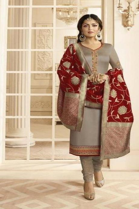 Beautiful Golden Colored Occasional Wear Silk Kurti Set IS2849