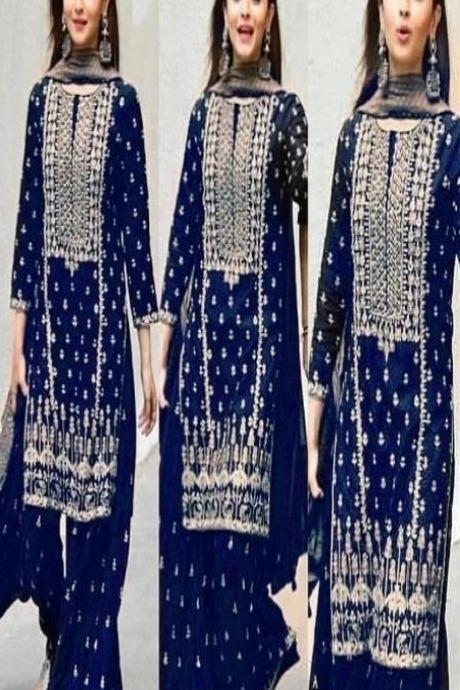 Heavy Embroidery Blue Color Designer Kurti N Plazo IS4695