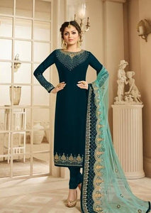 Green Colored Festival Wear Pure Georgette Silk Salwar Kameez With Dupatta Piece IS2814