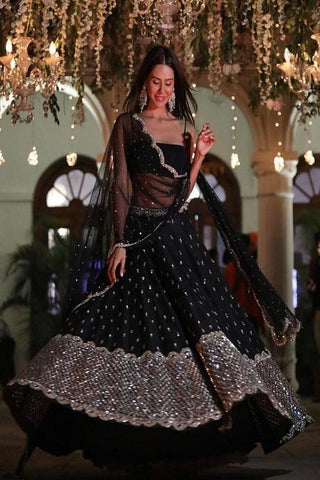 Black Colored Designer Party Wear Silk Lehenga Coli IS4887