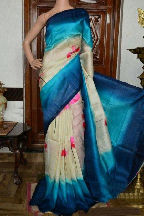 Fashionable Firozi Colour Banarasi Pure Soft Silk Saree IS266