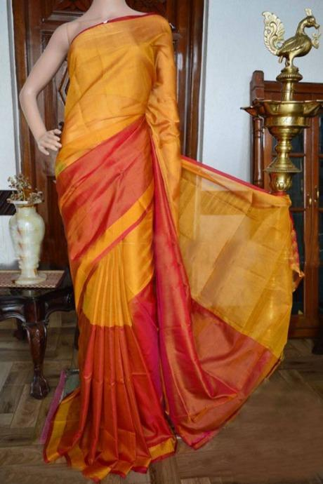 Soft Silk Rich Red N Yellow Colored Hand Weaving Designer Saree IS2295