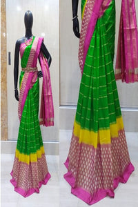 Latest Fashionable Banarasi Pure Soft Nat Navy Green Colour Saree IS67