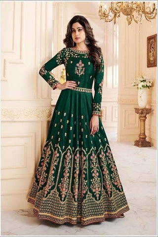 Blazing Green Color Attractive Coding Work Gown IS585