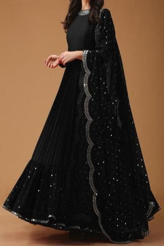 Blooming Black Color Designer Georgette  Gown IS590