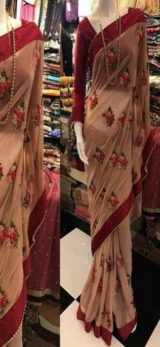 Beige Color Sequence Work Attractive Heavy Printed Saree IS3136