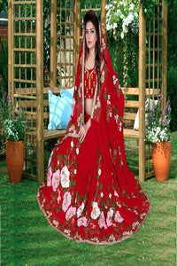 Red Color Embroidery Work Beautiful Designer saree IS3183