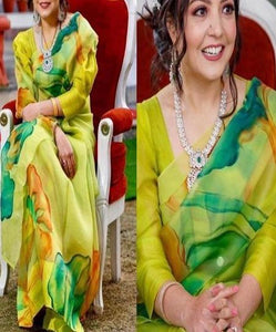 Mustard Yellow Color Digital Printed Saree IS522