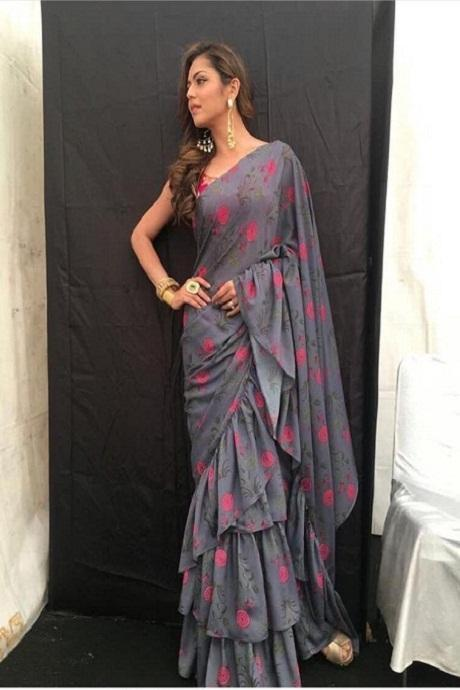 Light Grey Color Party Wear Printed Heavy Ruffle Saree IS3147