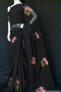 Black Color Party Wear Embroidery Work Saree IS3127