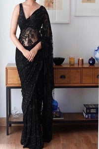 Black Color Heavy Workable Designer Saree IS3176