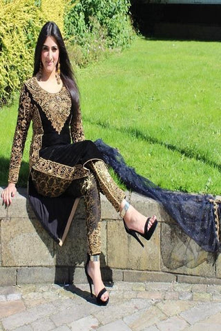 Actress Designer Heavy Embroidery Work Black Color Suits IS3234