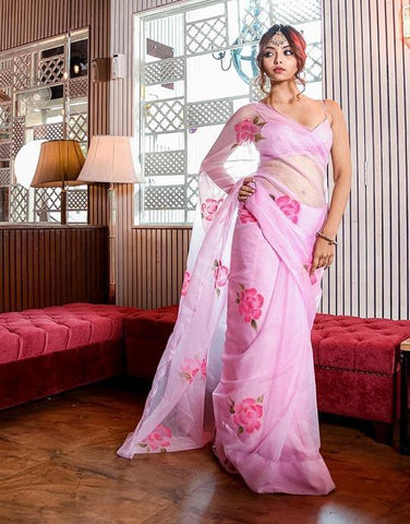 Traditional Regular Designer Ethnic Organza Silk Fancy Baby Pink Saree IS5
