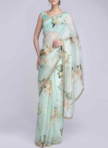 Designer Ethnic Organza Silk Fancy  Firozi Saree IS13