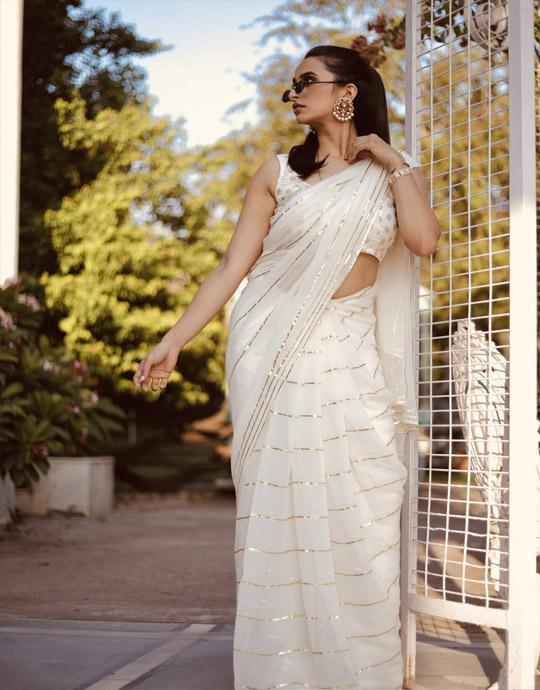 Attractive White Color One piece Pure Georgette Saree IS1981