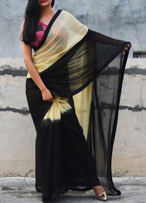 Two Shaded Yellow And Black Regular Wear Silk Multi Saree IS1893