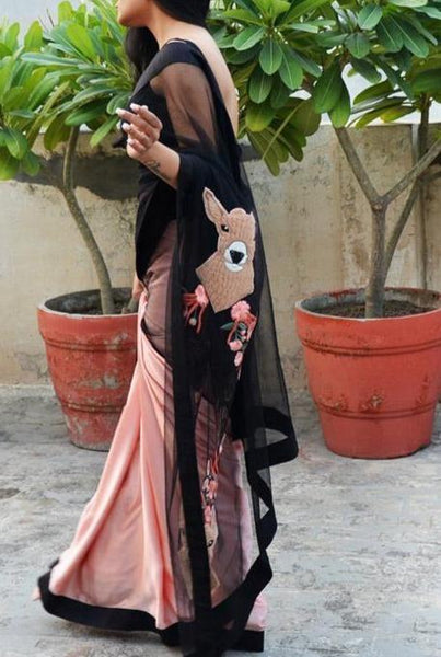 Digital Printed Satin Soft Silk Black Net Saree IS1913