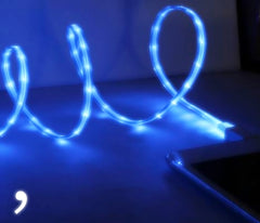 iphone 5 light up usb cable charger led blue