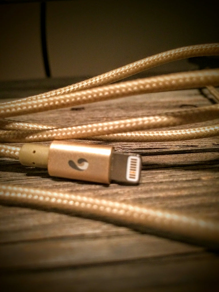 Comma Gold: 4ft Braided MFi Lightning Cable w/ Gold Shell