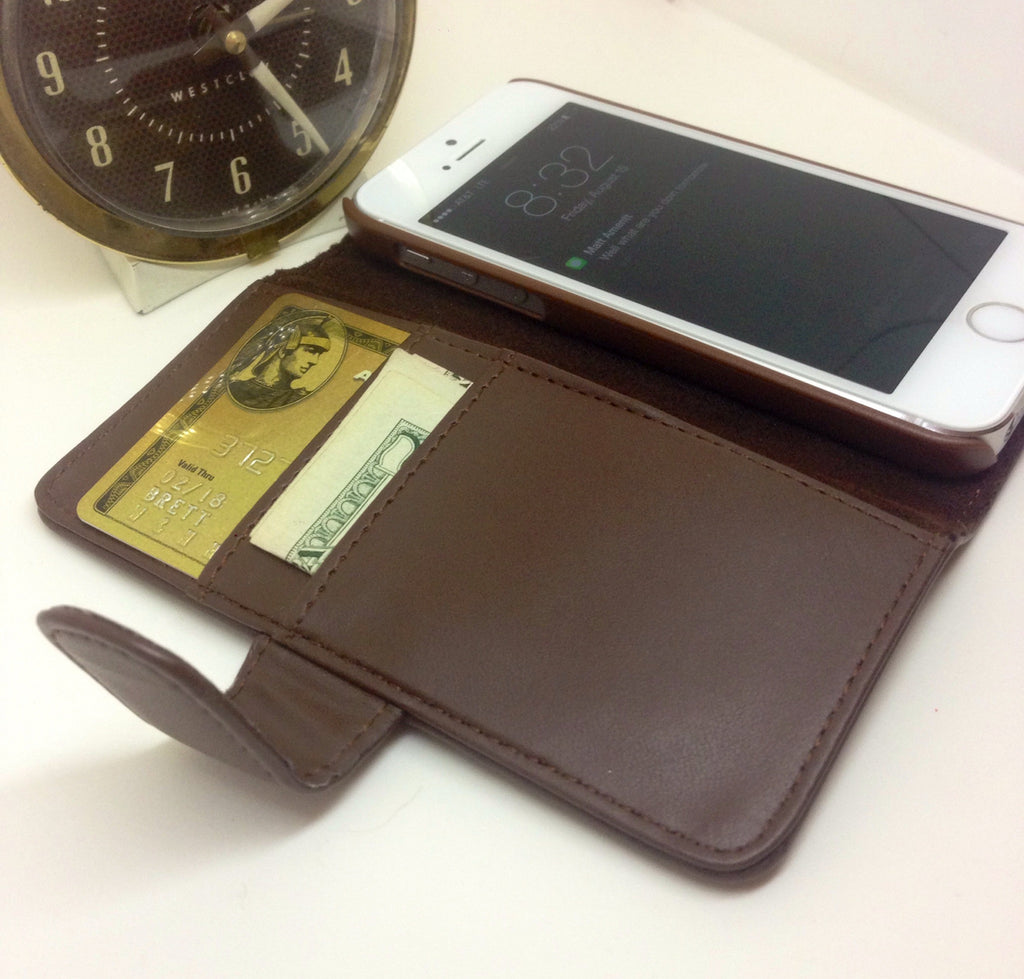 100% Genuine Leather iPhone 5/5s Case Wallet (Brown)