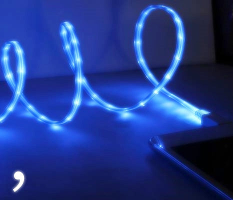 Premium LED Light Up USB Charger for iPhone 5, 5s, 5c, 6, 6 Plus, 6s, 6s Plus Comma Sexy